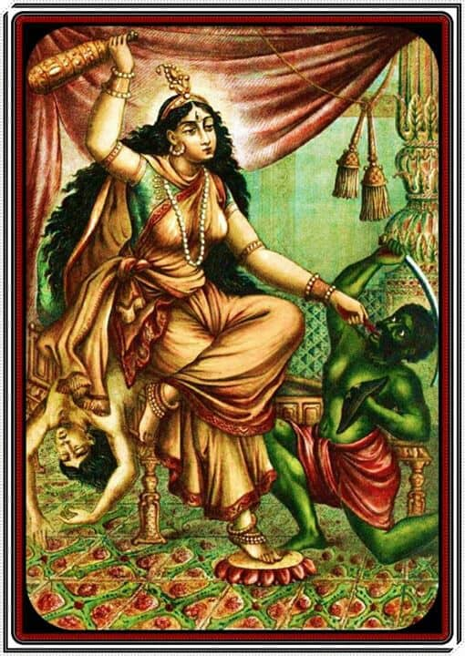 Bagalamukhi, popular print, late 19th to mid-20th century, artist unknown.