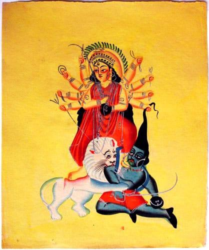 Mahishasura-mardini, Kalighat painting, 19th century